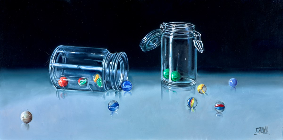 Marble Jars by raquel carbonell -  sized 32x16 inches. Available from Whitewall Galleries